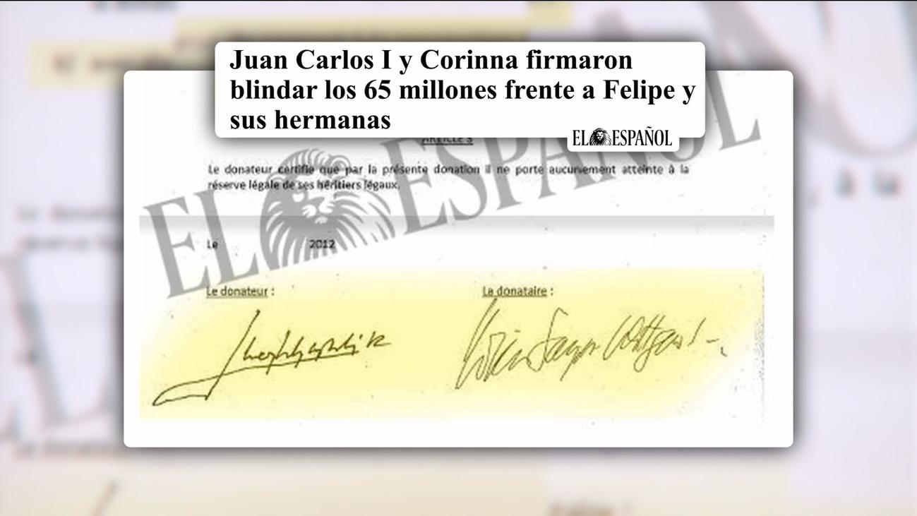 Sale a la luz el contrato con el que el rey Juan Carlos donó 65 millones de euros a Corinna Larsen
