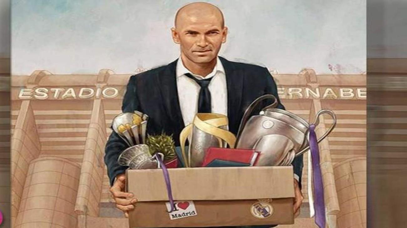 Zidane, con sus trofeos
