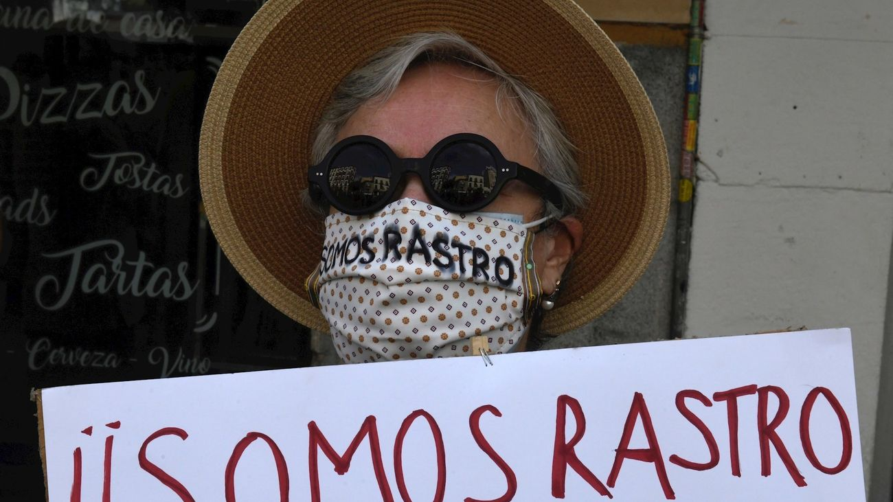 Una de las comerciantes que piden la reapertura del Rastro