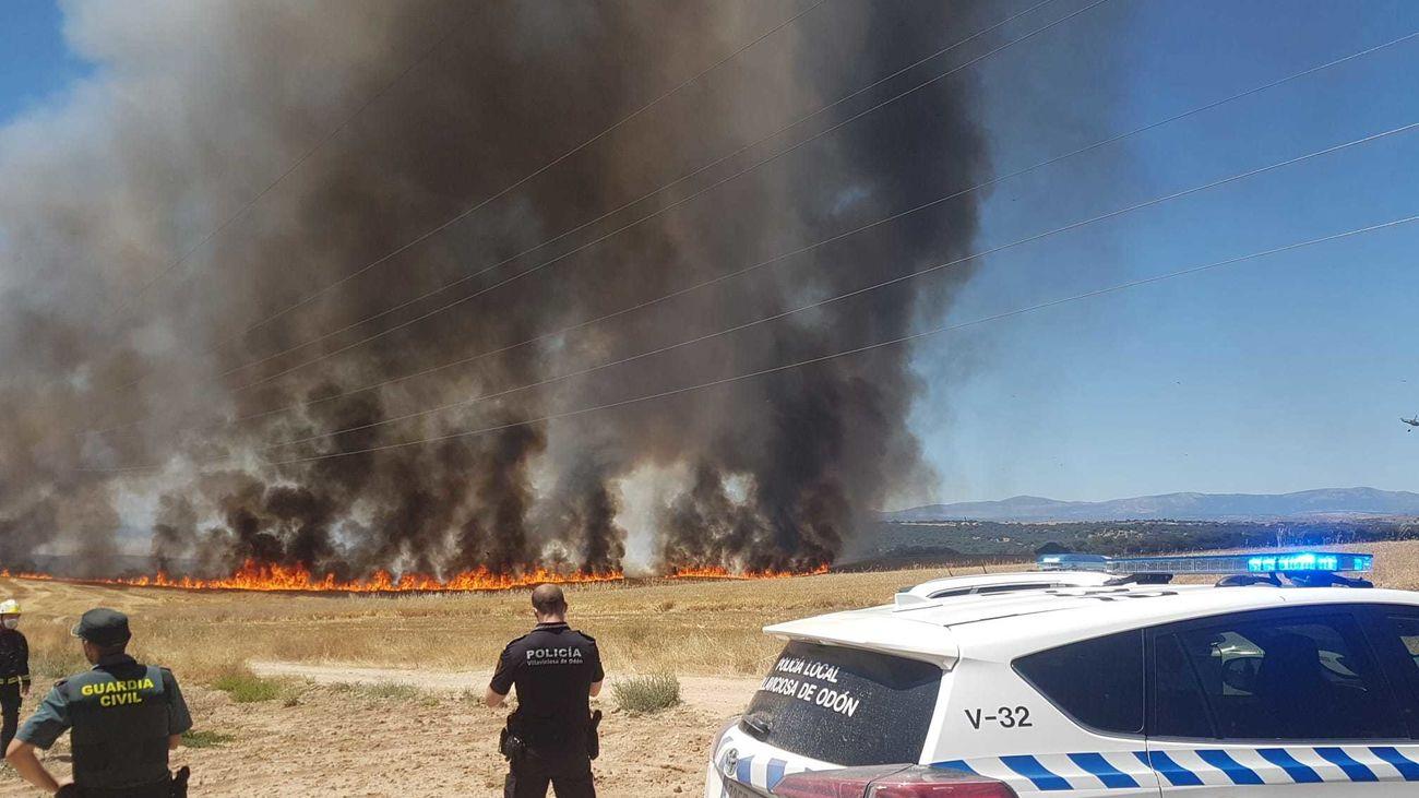 Incendio de zona de pastos en Villaviciosa de Odón