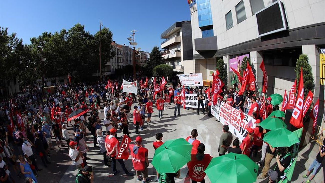 Protesta de los trabajadores de Airbus en Madrid