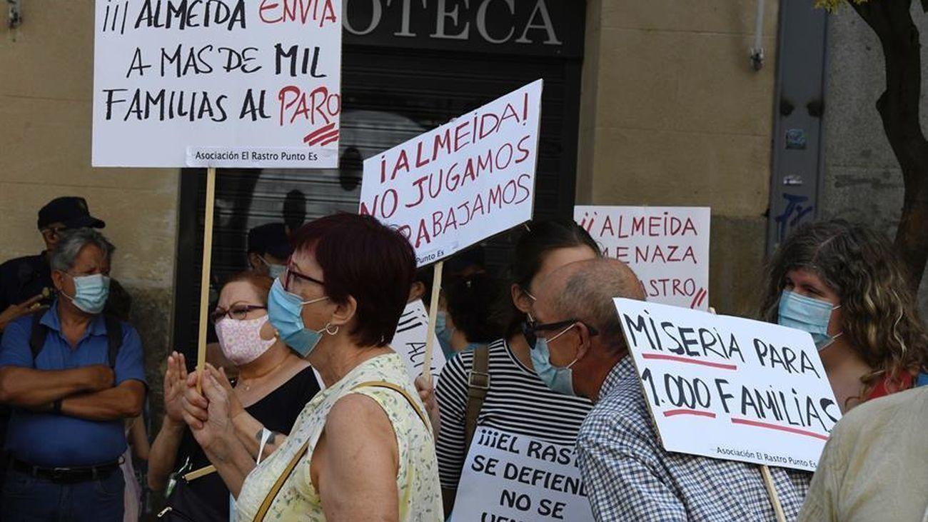 Manifestación de los vendedores de El Rastro