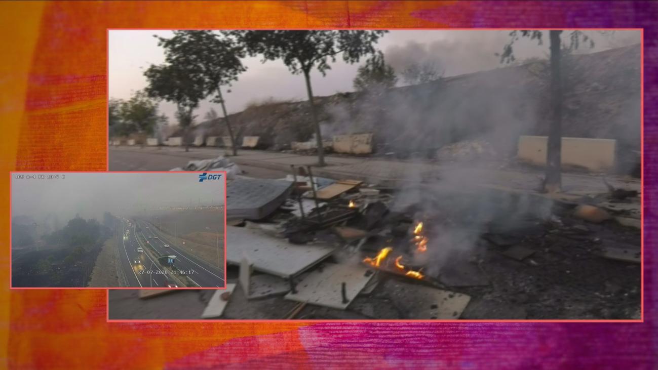 Un incendio junto a la A-4 arrasa una zona de pastos en Villaverde