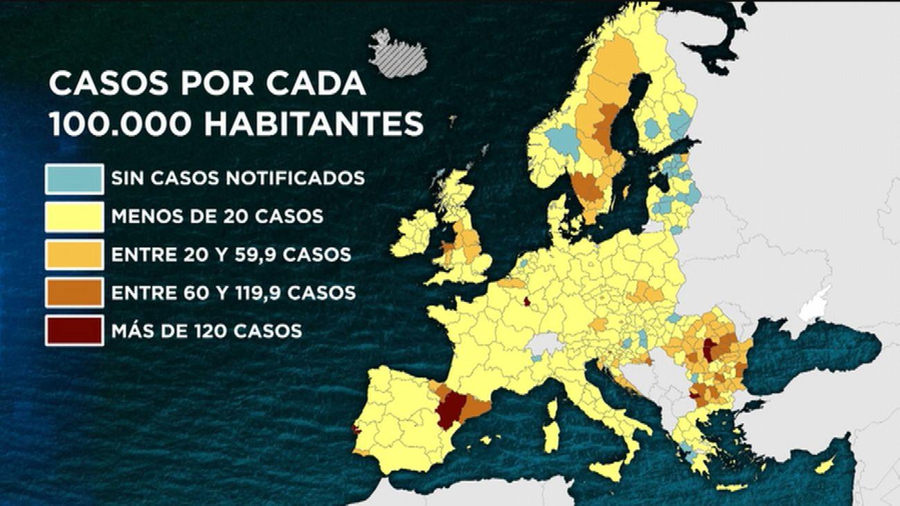 El mapa de los contagios de coronavirus en Europa