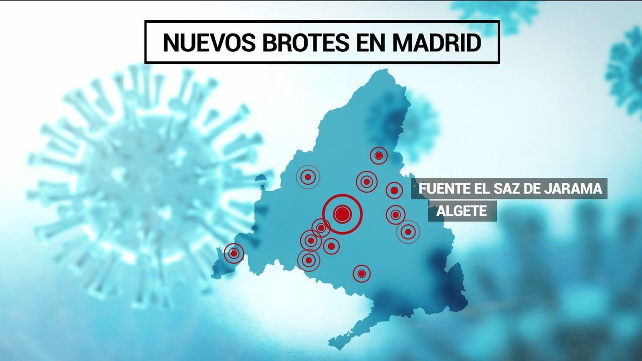Mapa de los nuevos rebrotes de coronavirus en Madrid