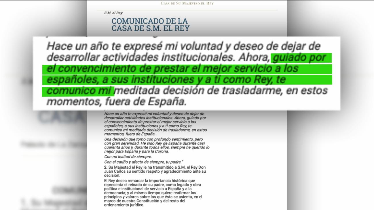 """El rey Juan Carlos I abandonará España por la repercusión de los """"acontecimientos de su vida privada"""""""