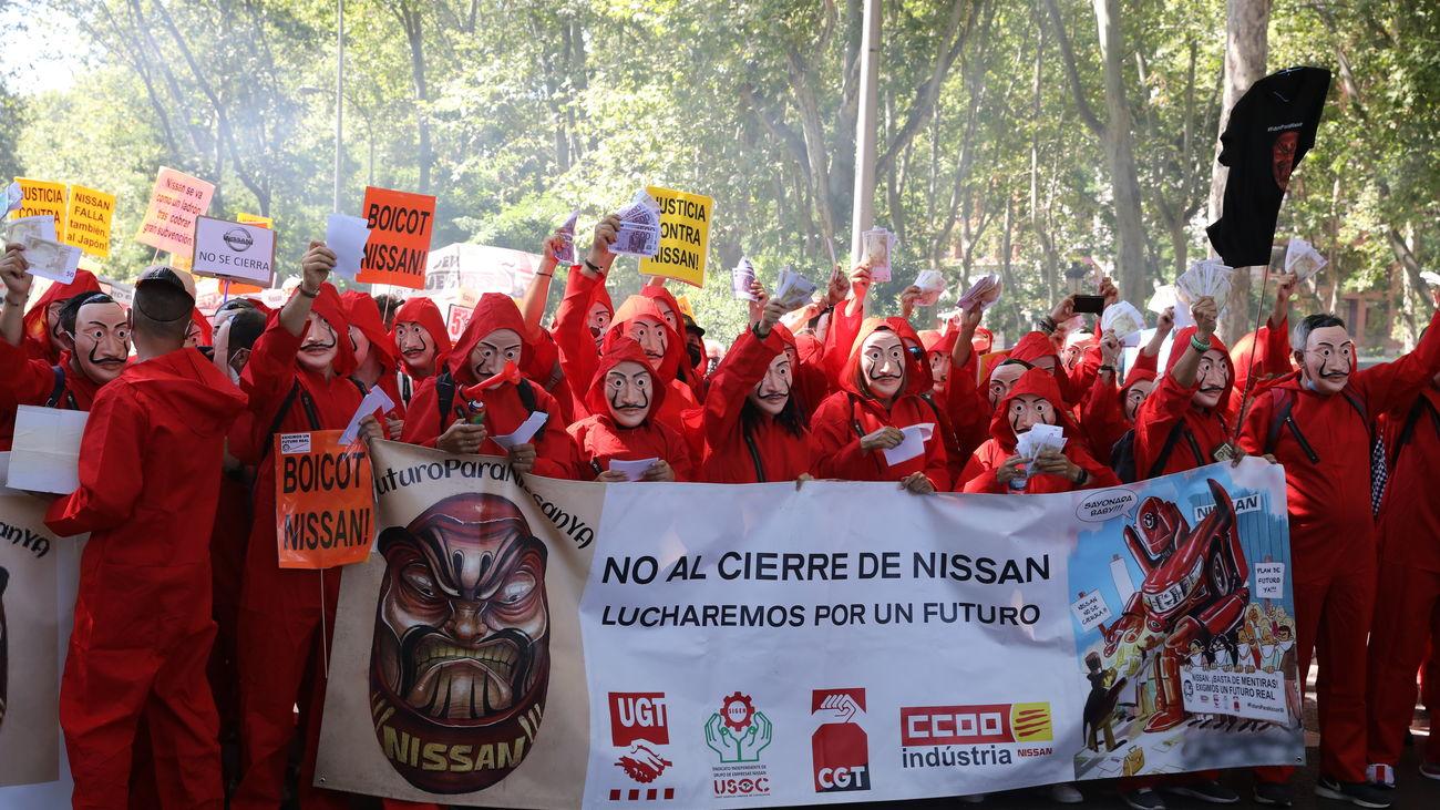 Trabajadores de NIssan en una de sus protestas