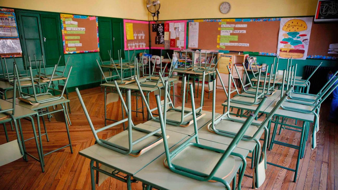 Un aula desierta en el colegio público Rufino Blanco en Madrid