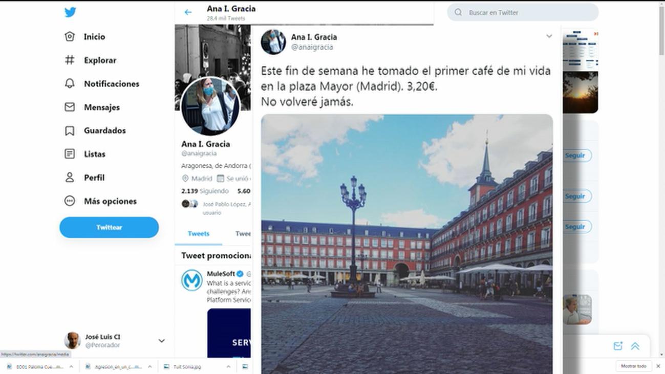 El tuit sobre el precio del café en la Plaza Mayor que ha encendido un debate