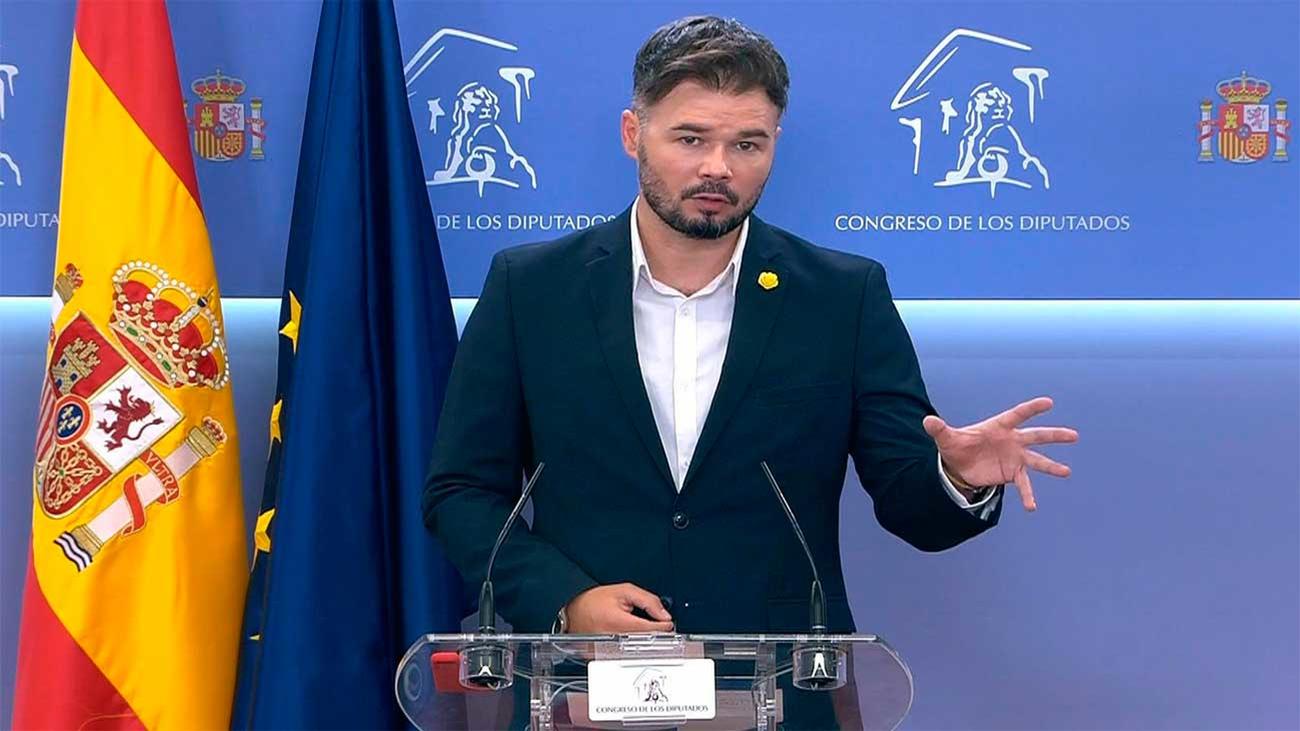 """Rufián dice que unos Presupuestos con Ciudadanos son """"incompatibles"""" con ERC"""