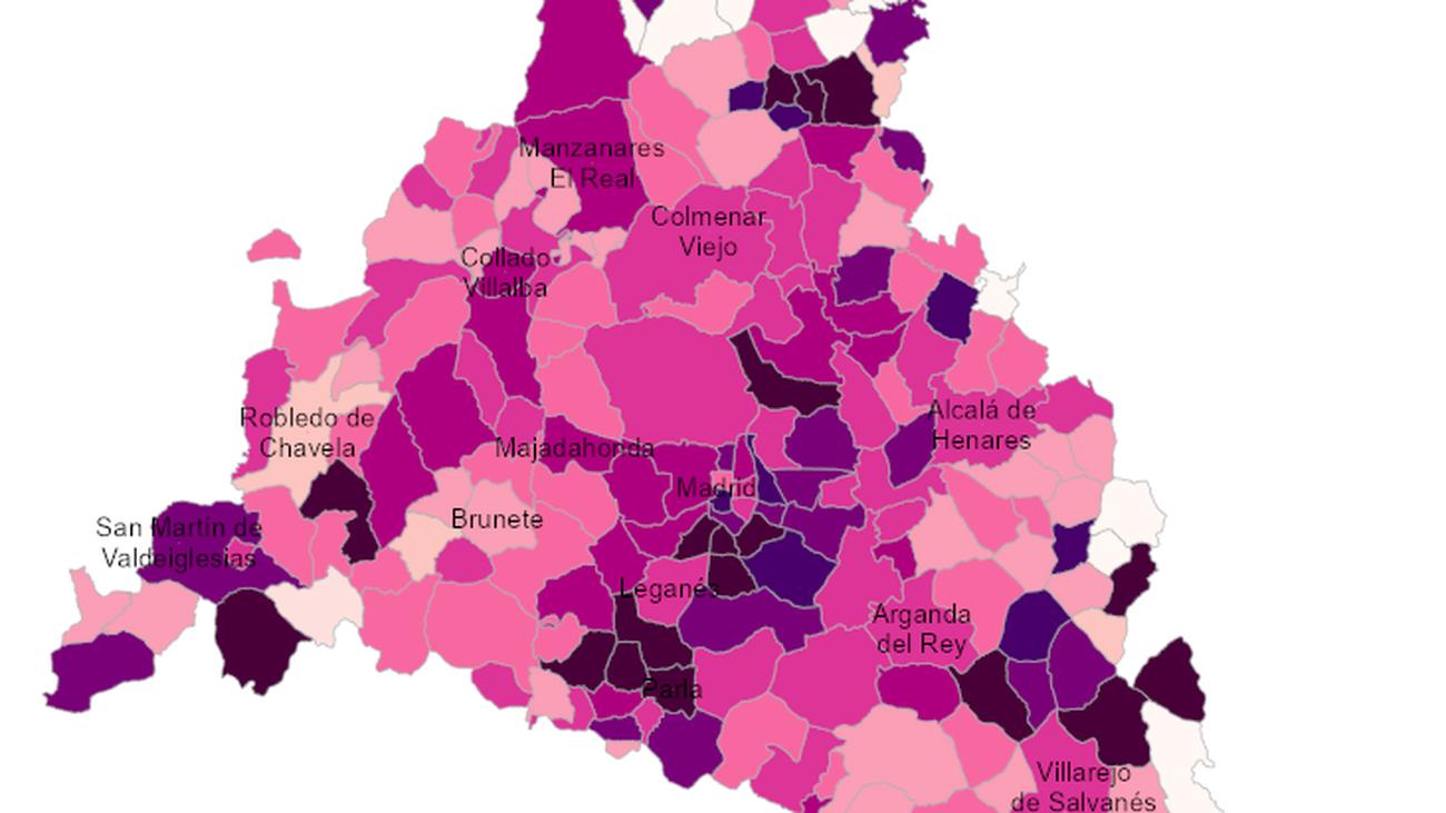 Mapa del coronavirus en Madrid