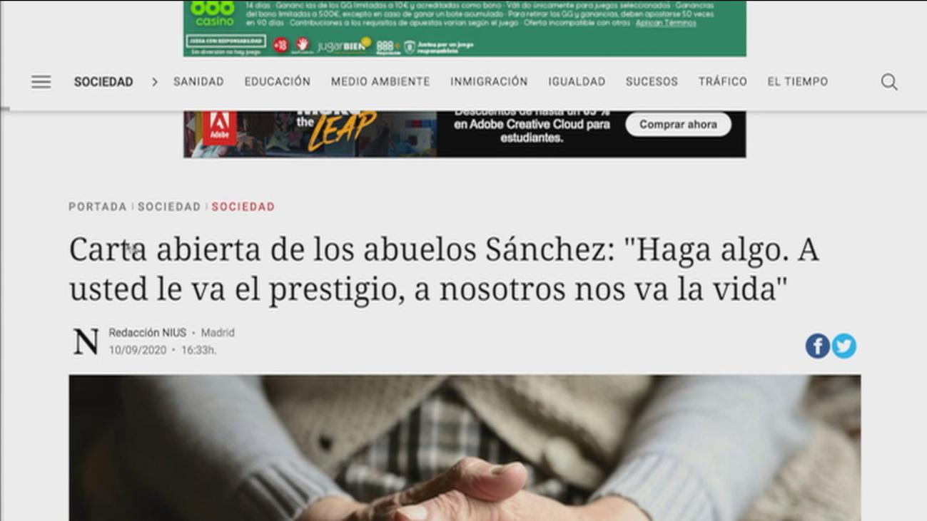 """Abuelos de España dirigen una carta a Sánchez: """"Ocúpese de nosotros por favor, porque es su responsabilidad"""""""