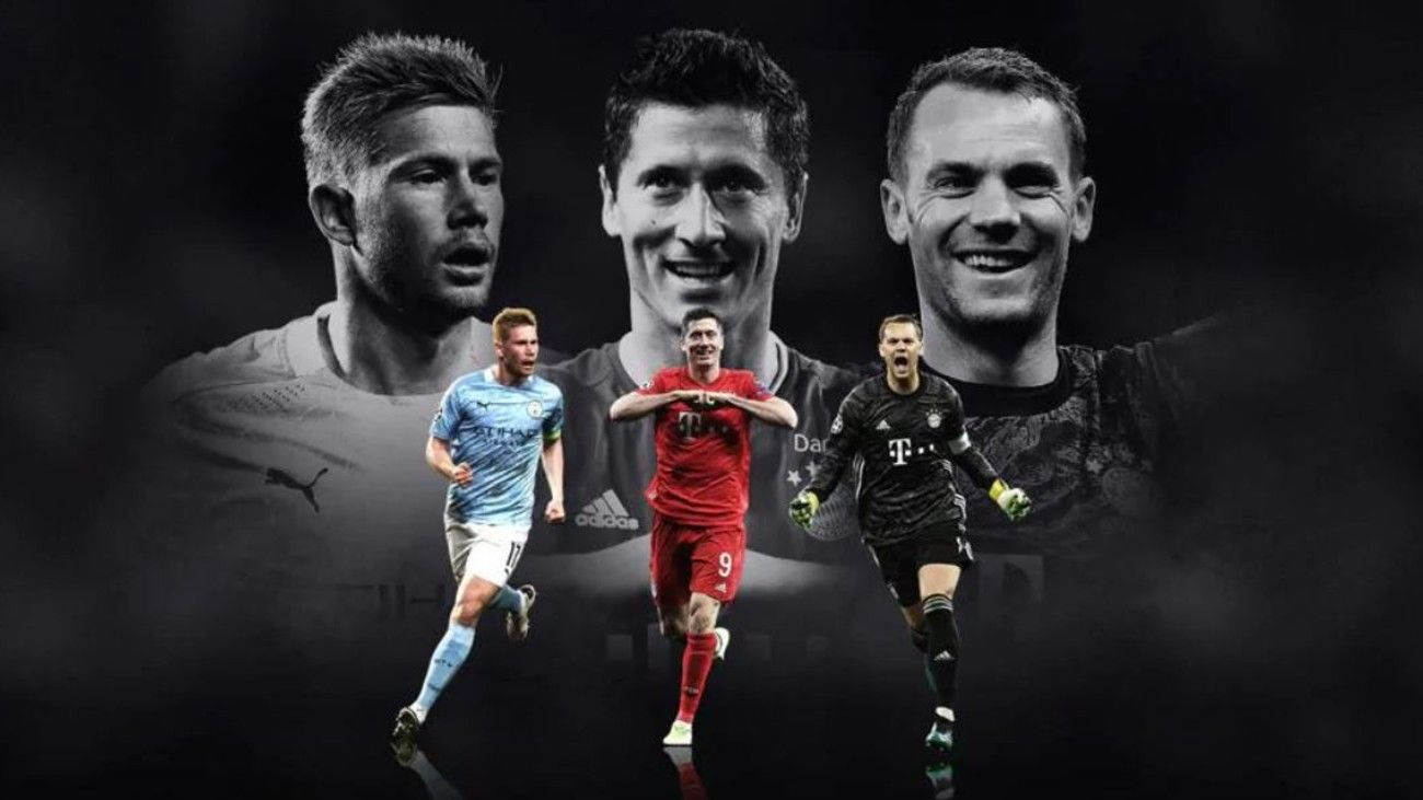 Kevin de Bruyne, Robert Lewandowski y Manuel Neuer