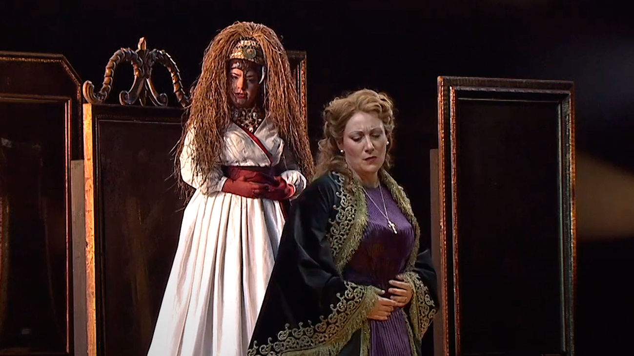 Imagen de la representación de la ópera 'Un ballo in maschera' en el Teatro Real de Madrid
