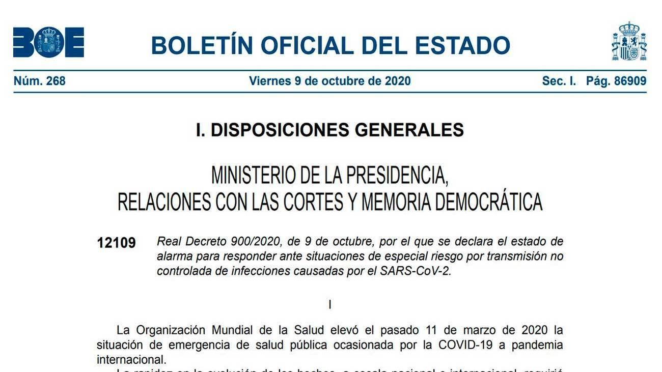 El BOE publica el estado de alarma en Madrid que entra ya en vigor