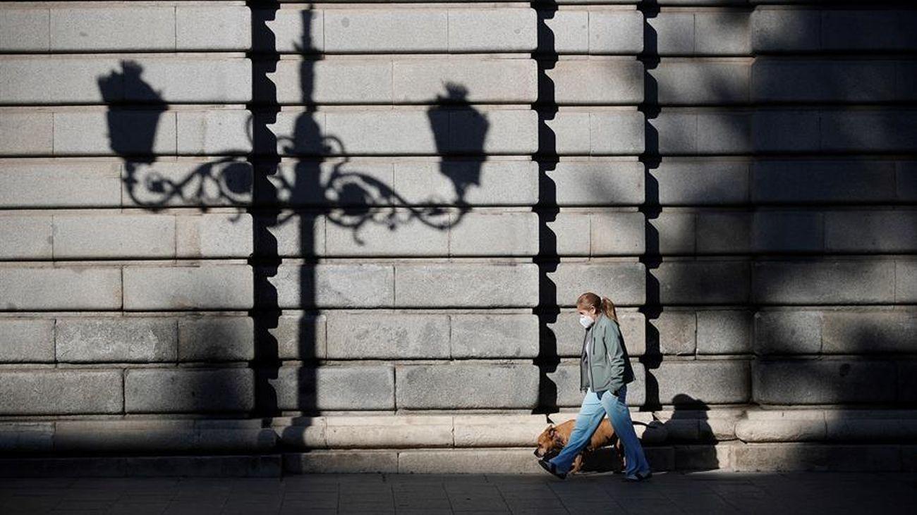 Una mujer pasea con su perro en Madrid