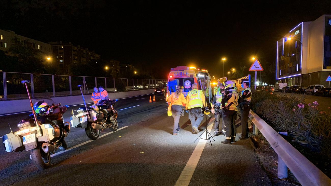 Atropellado un hombre mientras cruzaba andando la M-30 a la altura de Puente de Vallecas