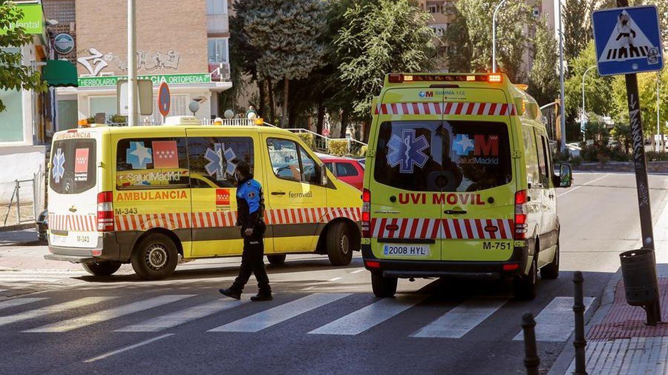 Dos ambulancias en Madrid