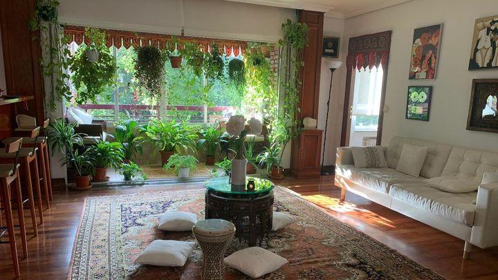 La vivienda de la cantante Cristina del Valle nos traslada al mundo árabe. Alfombras persas, cojines en el suelo y plantas, muchas plantas junto a los grandes ventanales.
