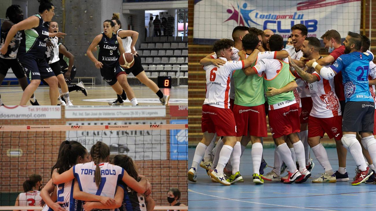 Baloncesto, voleibol y fútbol sala, en Leganés