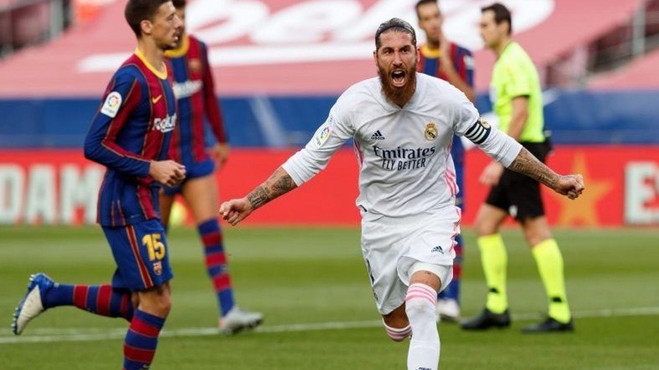 Sergio Ramos ante el Barcelona