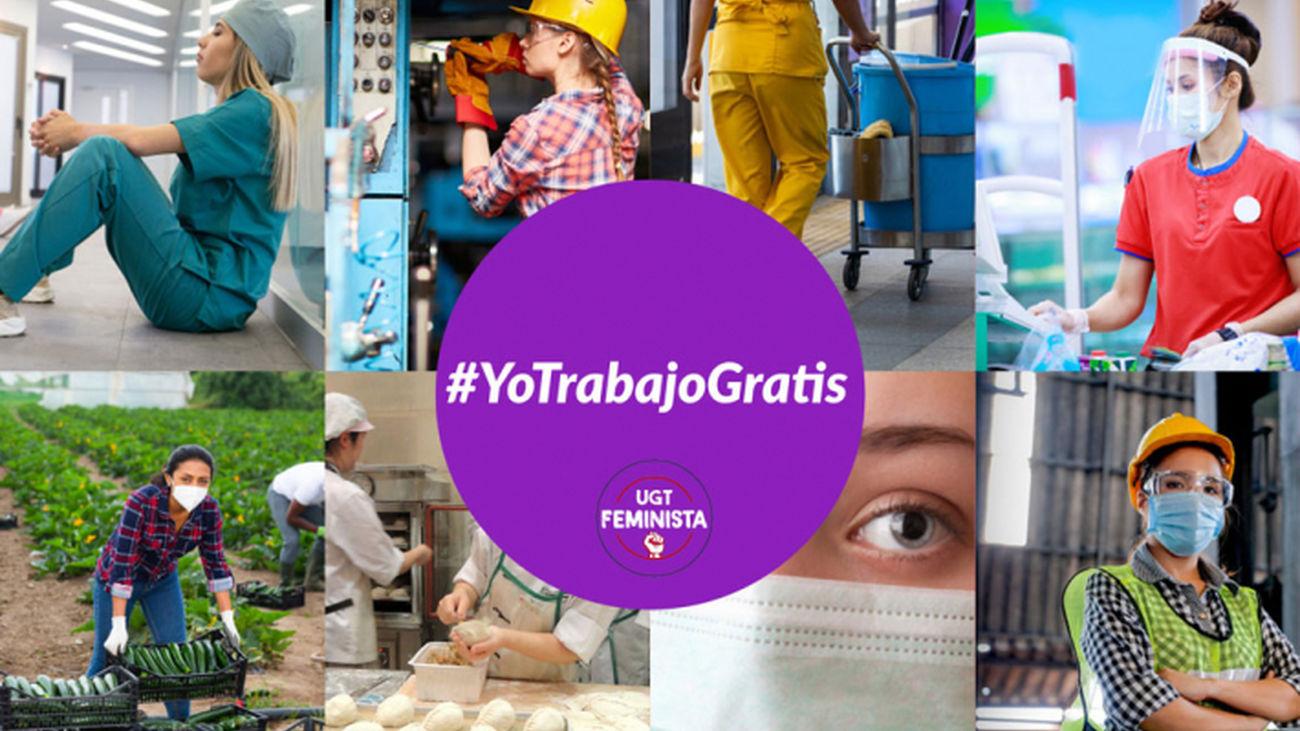Cartel de la campaña #yotrabajogratis que lucha contra la brecha salarial en España