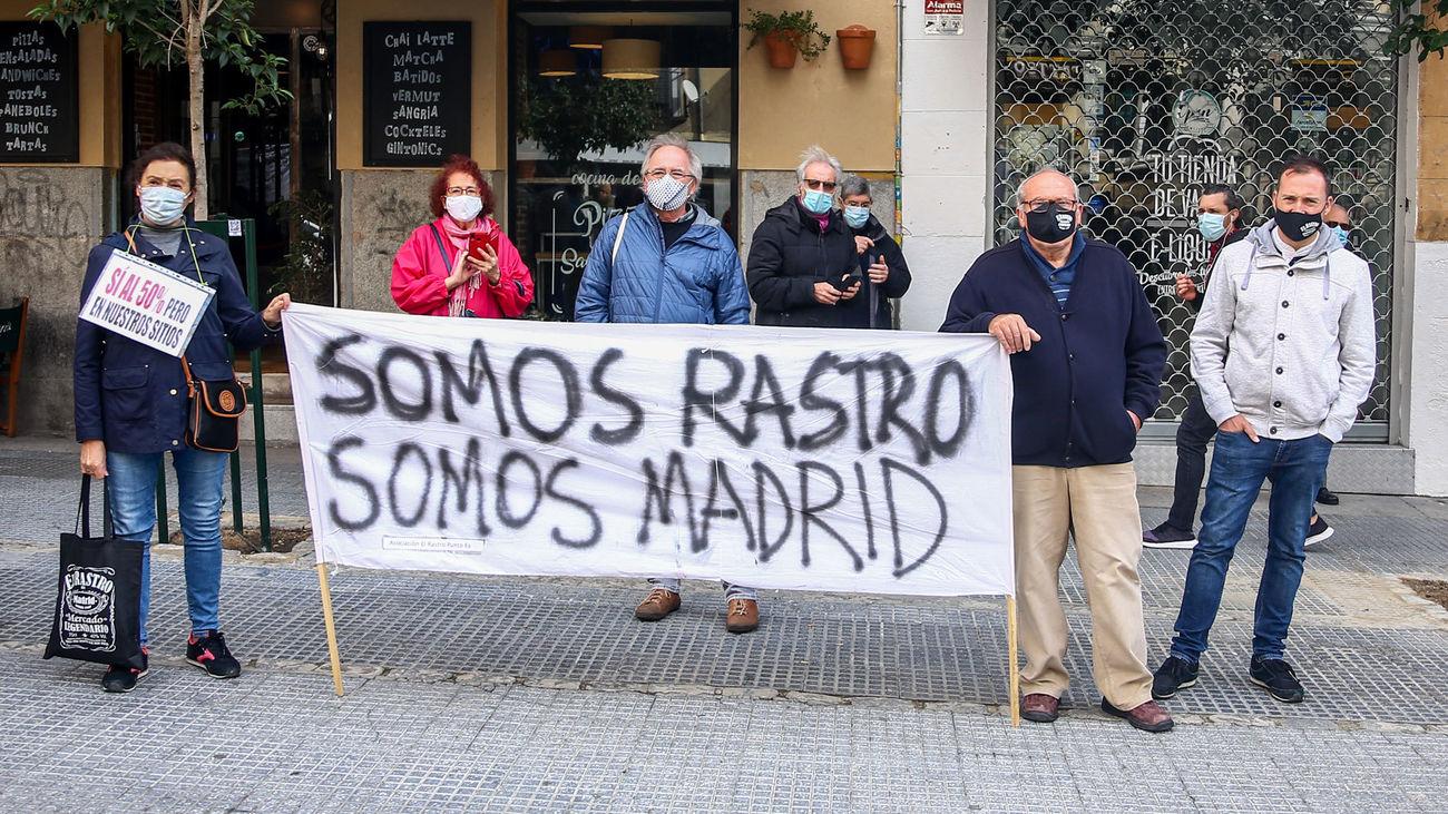 Manifestación de comerciantes de El Rastro
