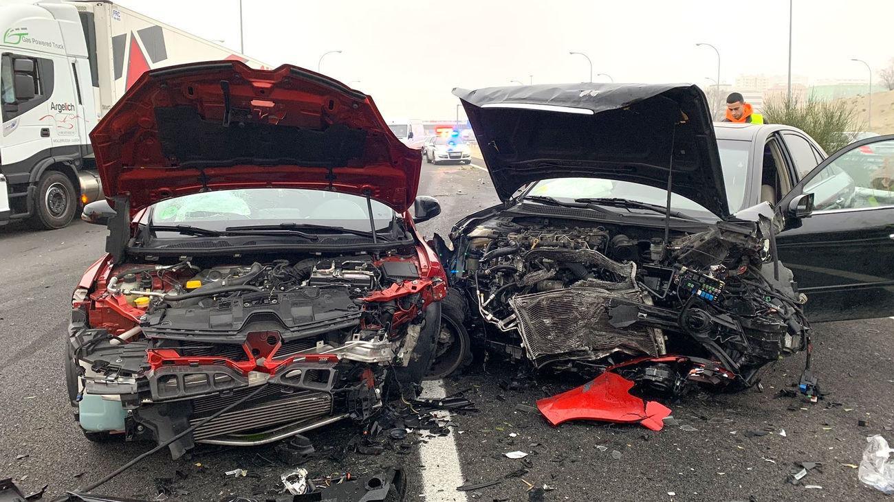Imagen de un accidente de tráfico en la M-45