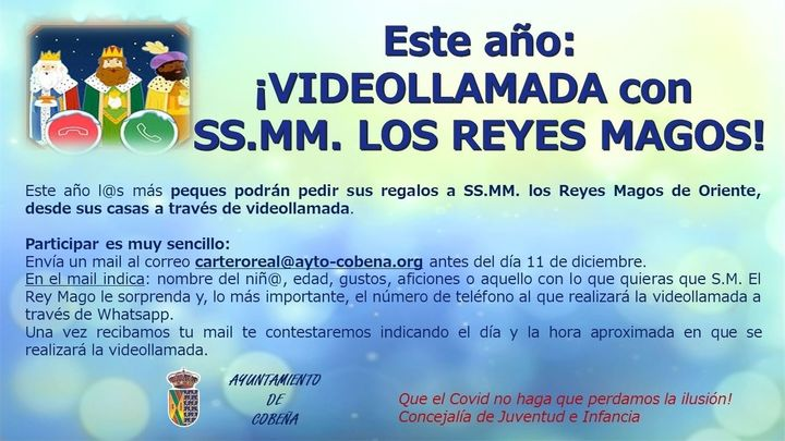 Cobeña organiza videollamadas de los Reyes Magos con los niños del pueblo