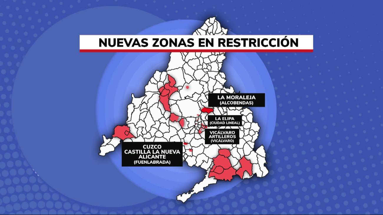 A partir de la medianoche del lunes entran restricciones en seis nuevas zonas en Madrid