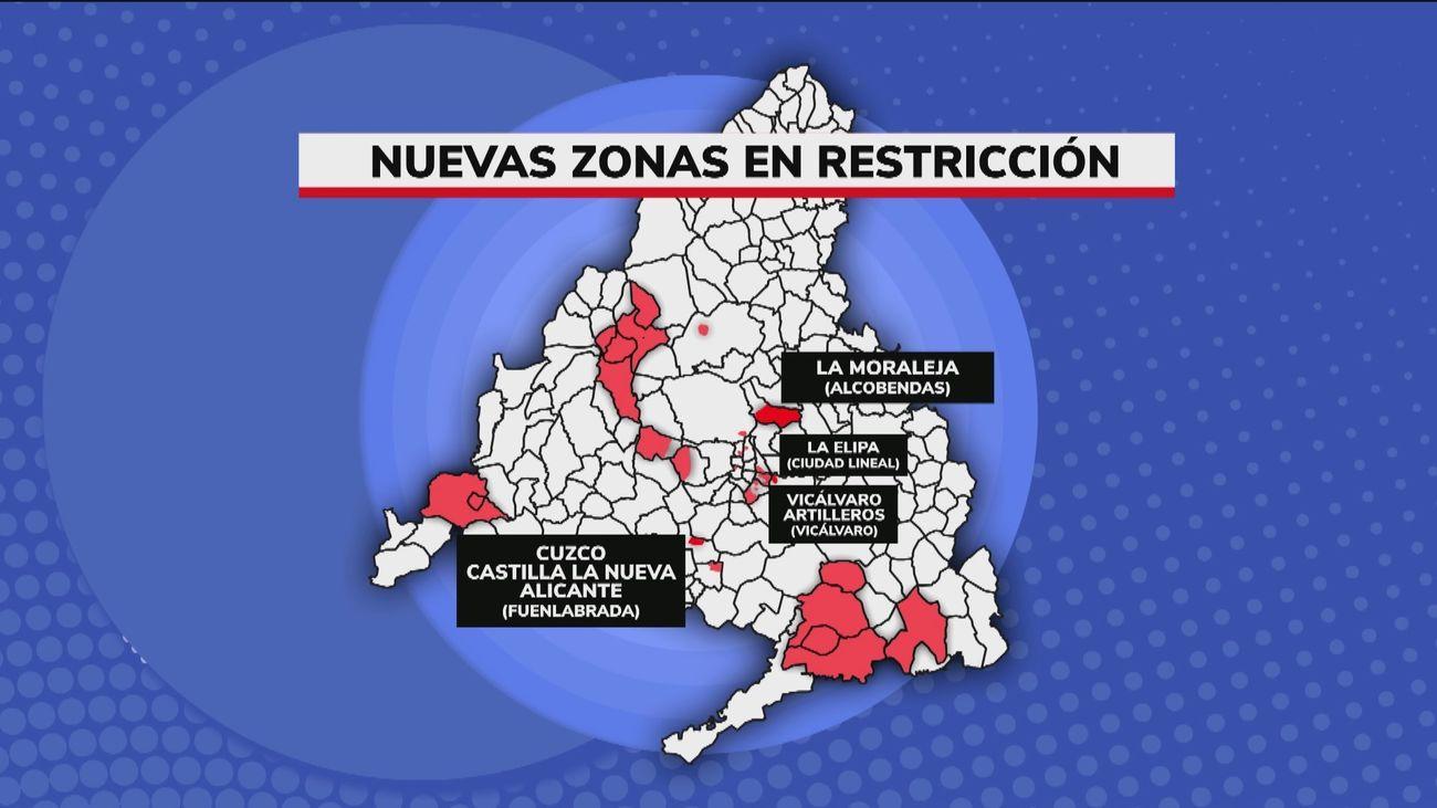 Seis nuevas zonas básicas con restricciones desde este lunes