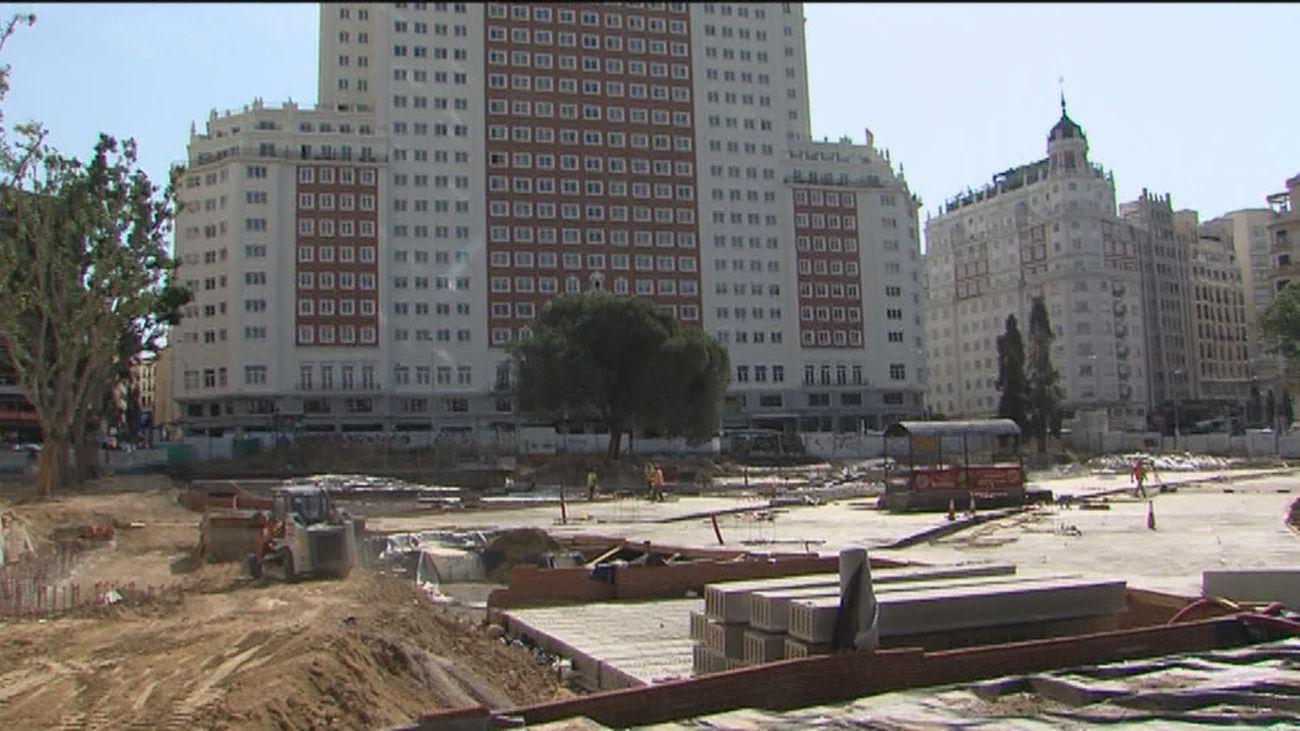 Las obras de la Plaza de España no finalizarán hasta el verano de 2021