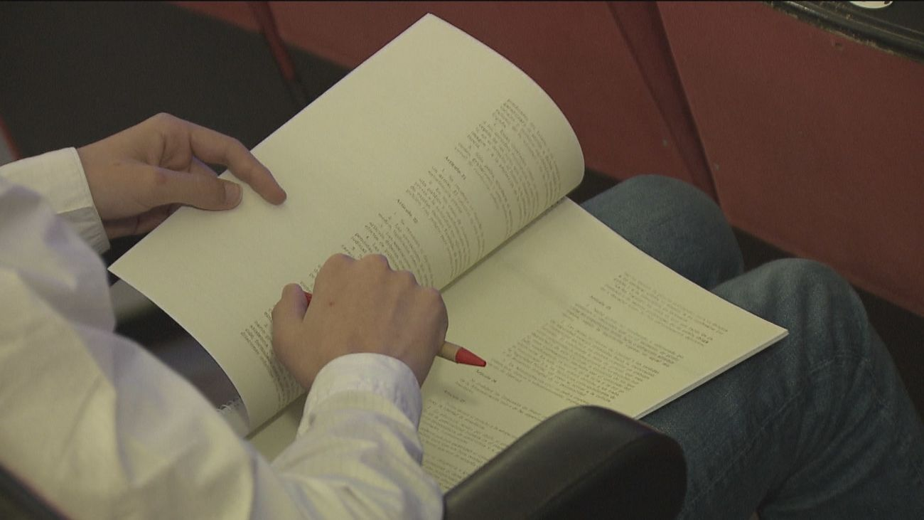 Un estudiante madrileño lee la Constitución española