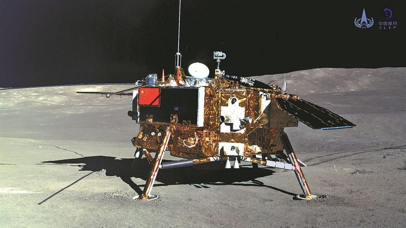 Recreación de la sonda tras el alunizaje
