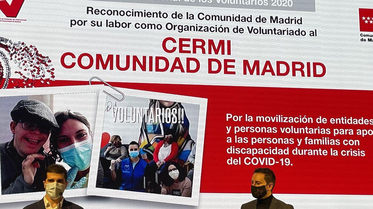 Cermi Madrid, galardonado con el reconocimiento de voluntariado 2020 de la Comunidad de Madrid