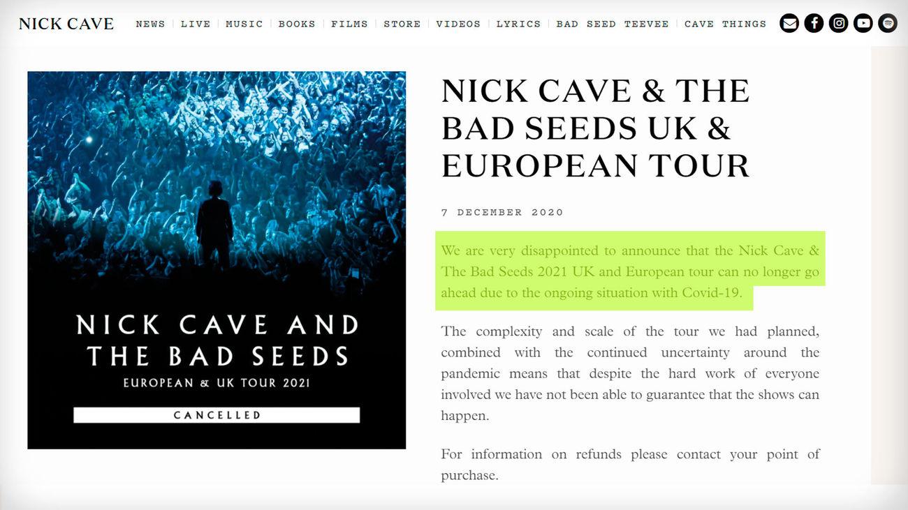 Nick Cave anuncia en su web que cancela su gira europea para 2021, incluidas sus citas españolas en Madrid y Barcelona