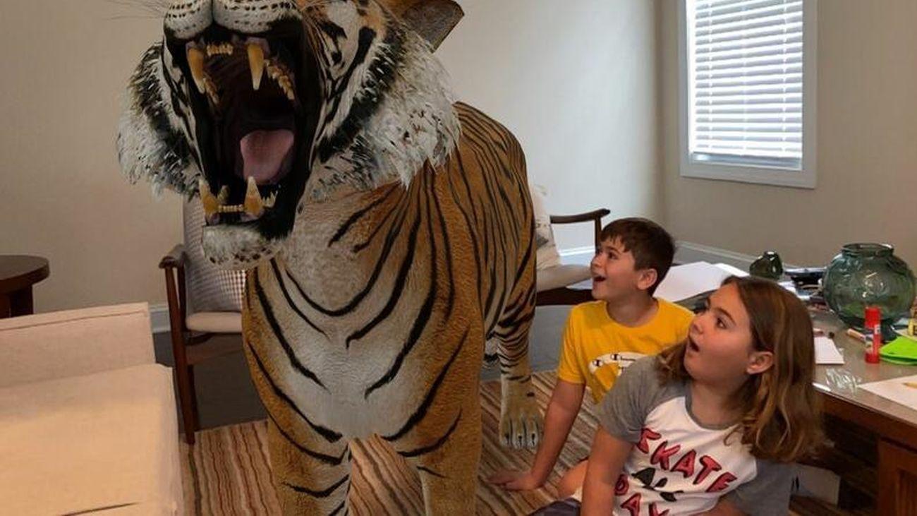 Simulación en 3-D con realidad aumentada de un tigre en un salón