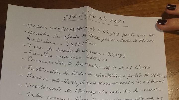 Un abuelo de 86 años simplifica en un folio las bases del MIR a su nieta