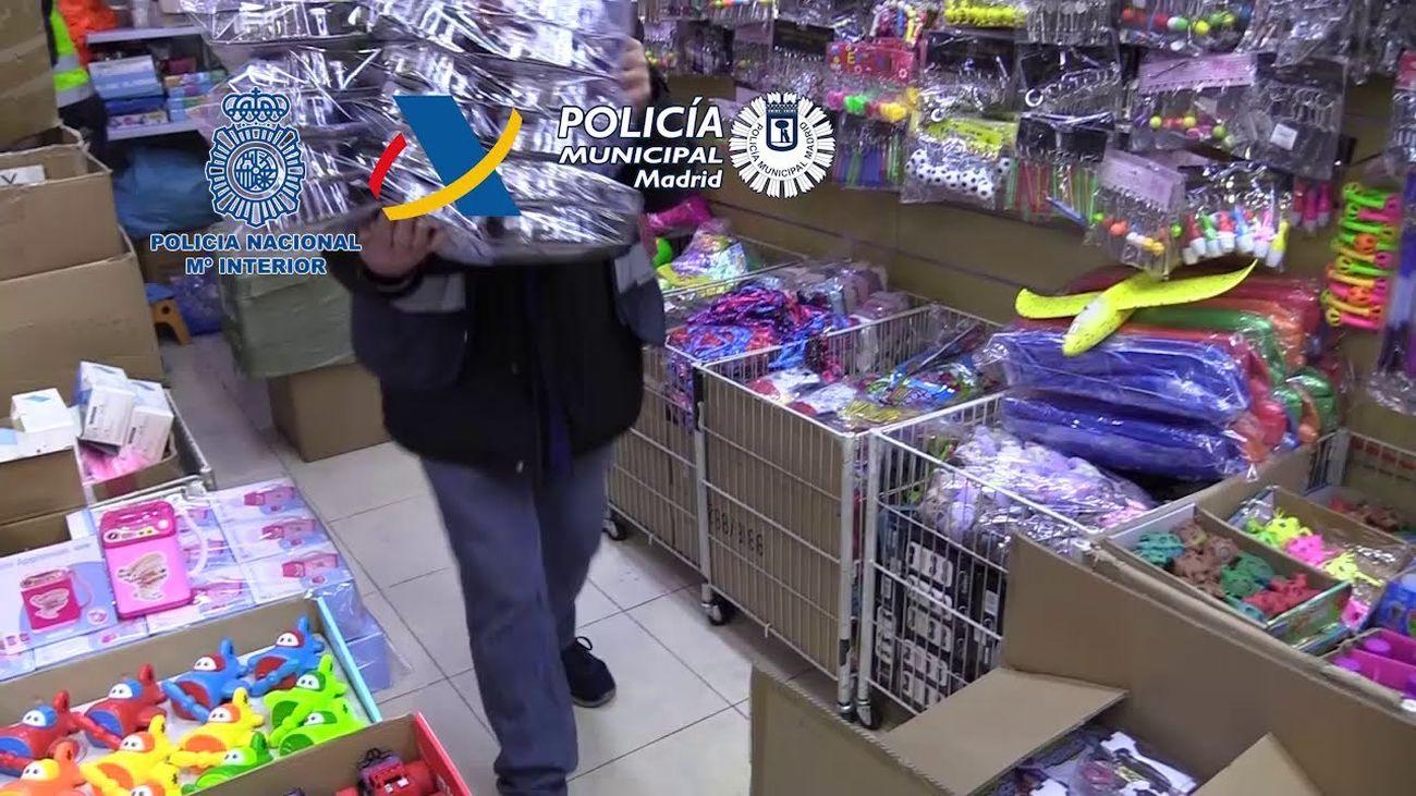 Doce detenidos en Madrid e incautados 1,3 millones de juguetes y 2,7 millones de productos sanitarios ilegales