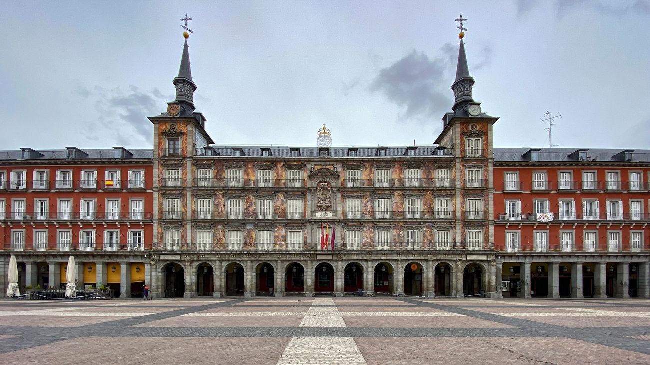 La Plaza Mayor de Madrid, vacía durante la pandemia del coronavirus