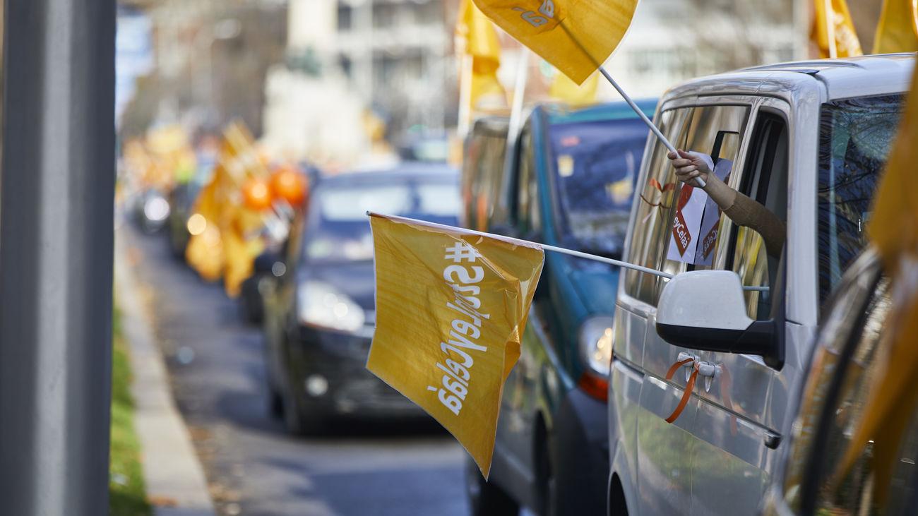 Concentración de vehículos en contra de la Ley Celaá en Madrid