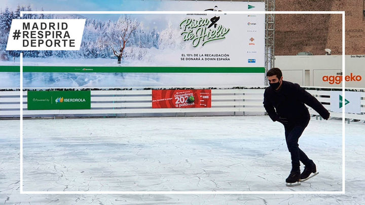 Javier Fernández inaugura su pista de hielo en la Plaza de Colón