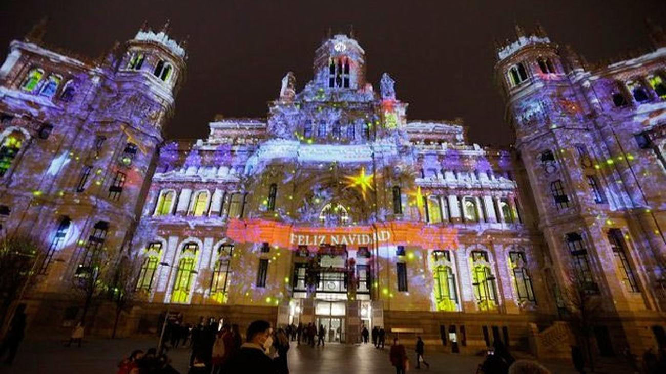 Imagen del videomapping del Ayuntamiento para felicitar las fiestas