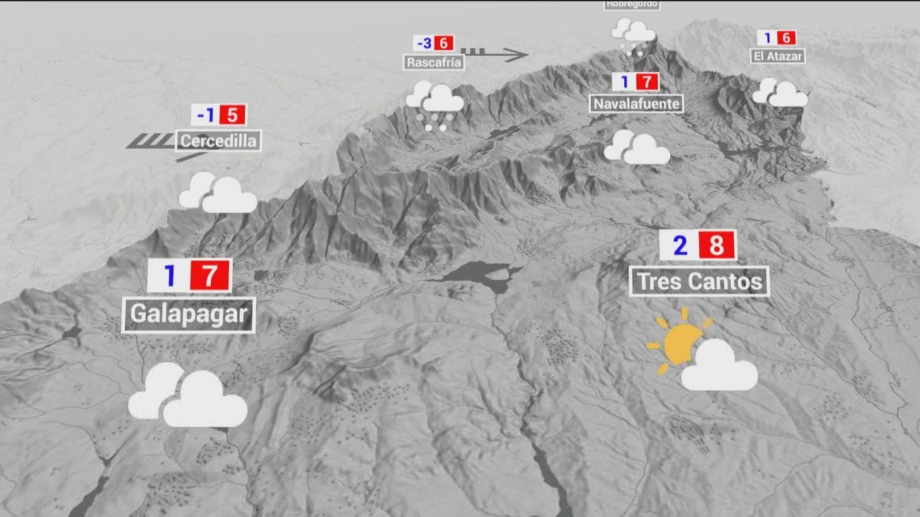 Alerta por riesgo de viento fuerte de hasta 90 km/h y nevadas en la sierra de Madrid