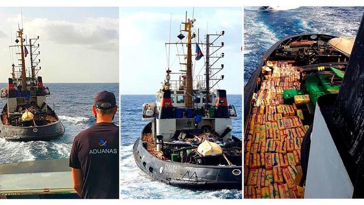 Cinco detenidos con casi 15.000 kilos de hachís en un remolcador al norte de Canarias