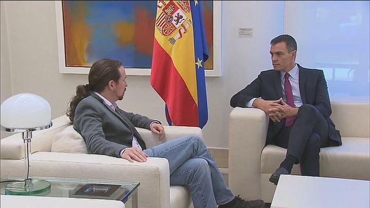 Primera reunión de Sánchez e Iglesias tras conocerse la candidatura de Illa