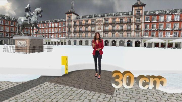 ¿Cuánta nieve se acumulará en las calles de Madrid en las próximas horas?