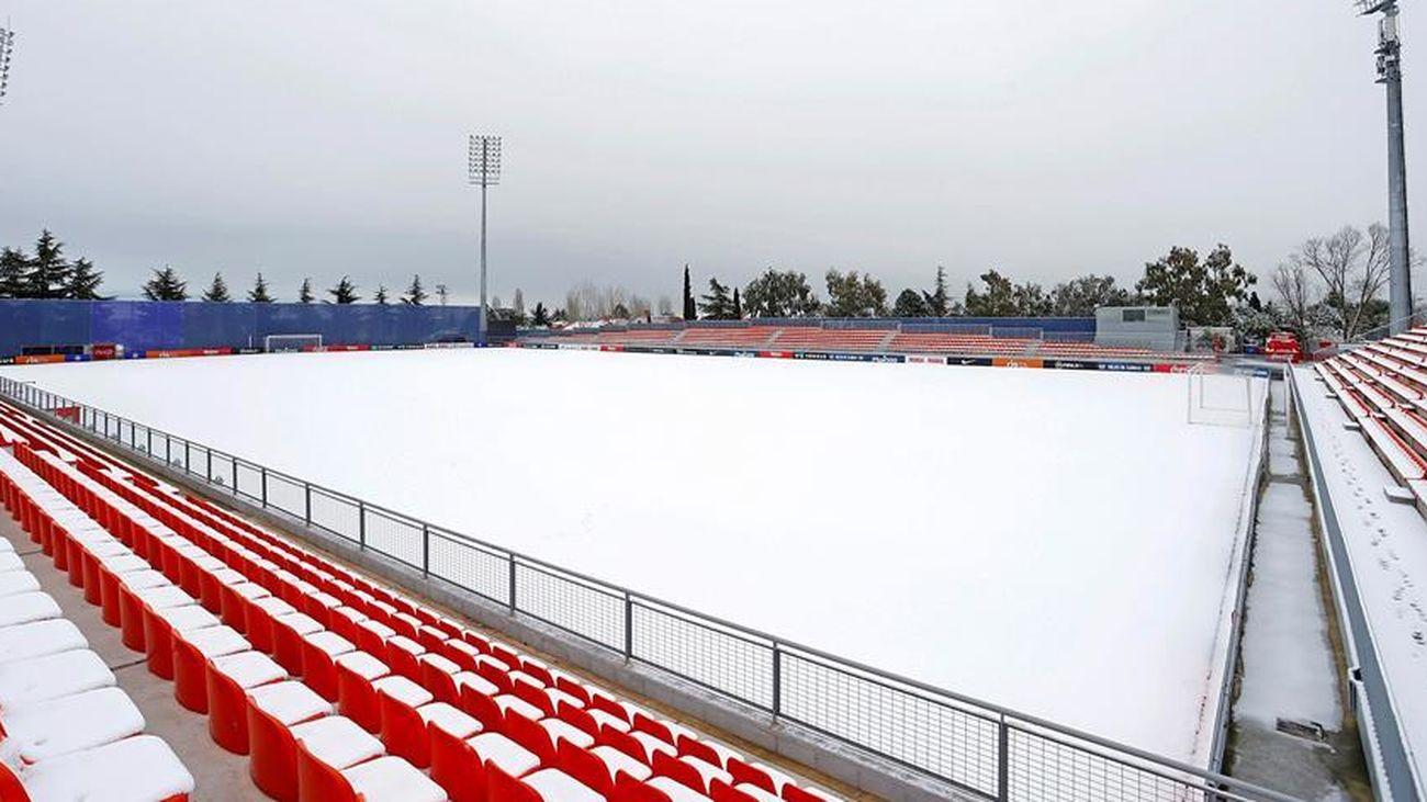 Ciudad Deportiva Wanda de Majadahonda, cubierta por la nieve