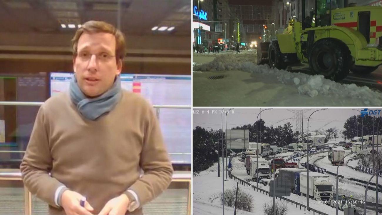 """Martínez-Almeida: """"Ha sido un tsunami de nieve lo que ha sucedido hoy en Madrid"""""""