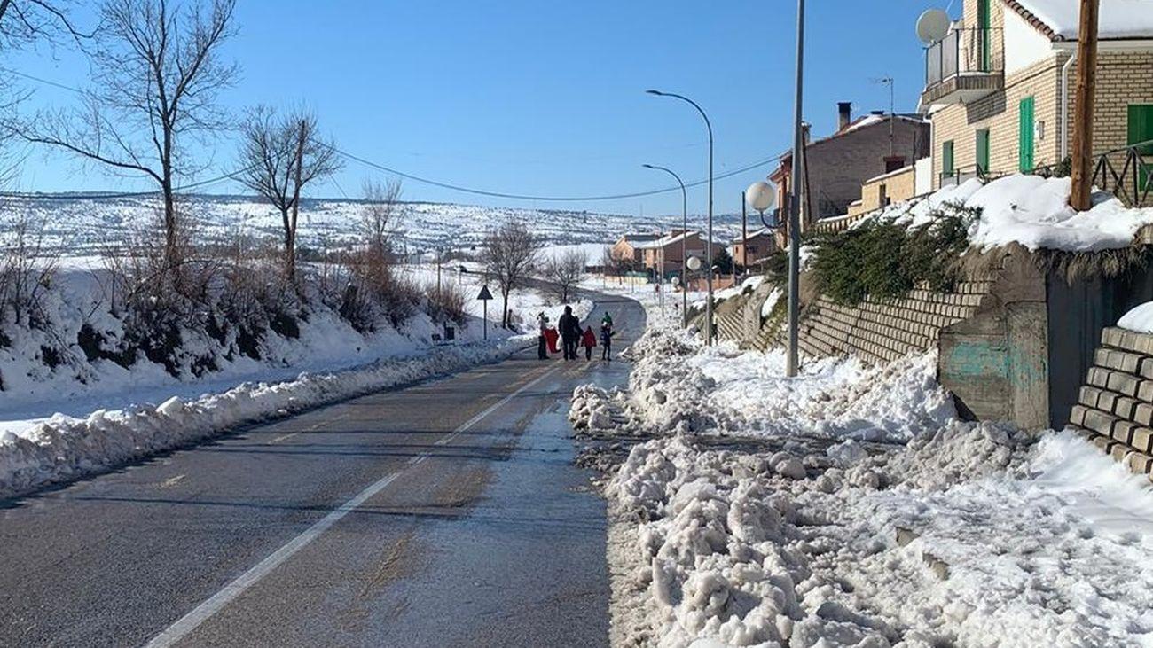 Carretera de acceso a Torrelaguna, esta mañana